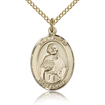 Gold Filled 3/4in St Philip the Apostle Medal & 18in Chain