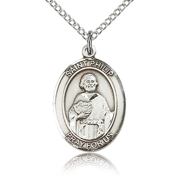 Sterling Silver 3/4in St Philip the Apostle Medal & 18in Chain