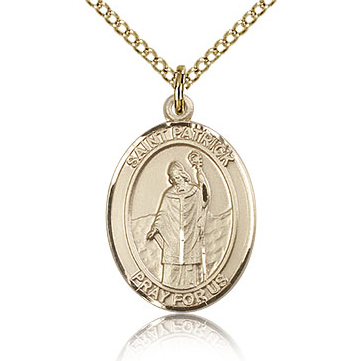 Gold Filled 3/4in St Patrick Medal & 18in Chain