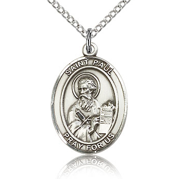 Sterling Silver 3/4in St Paul the Apostle Medal & 18in Chain