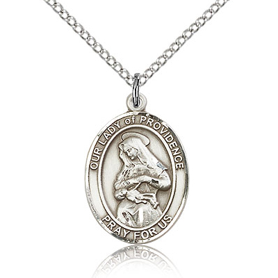 Sterling Silver 3/4in Lady of Providence Medal & 18in Chain