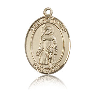 14kt Yellow Gold 3/4in St Peregrine Medal
