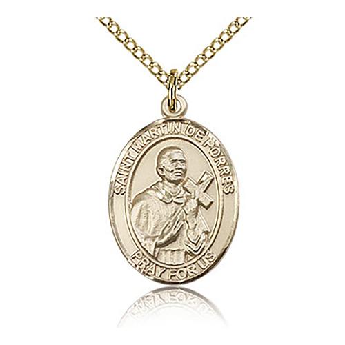 Gold Filled 3/4in St Martin de Porres Medal & 18in Chain
