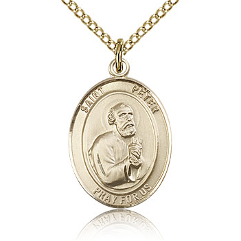 Gold Filled 3/4in St Peter Medal & 18in Chain