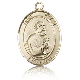 14kt Yellow Gold 3/4in St Peter Medal