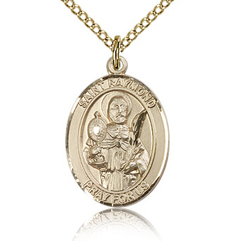 Gold Filled 3/4in St Raymond Medal & 18in Chain