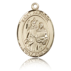 14kt Yellow Gold 3/4in St Raphael Medal