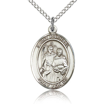 Sterling Silver 3/4in St Raphael Medal & 18in Chain