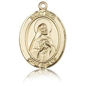 14kt Yellow Gold 3/4in St Rita Medal
