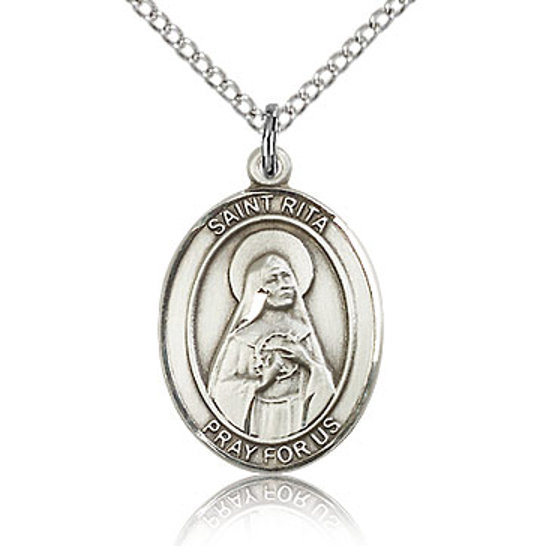Sterling Silver 3/4in St Rita Medal & 18in Chain