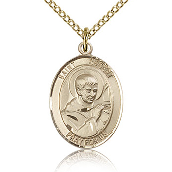 Gold Filled 3/4in St Robert Bellarmine Medal & 18in Chain