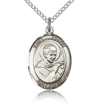 Sterling Silver 3/4in St Robert Bellarmine Medal & 18in Chain