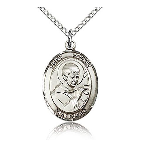 Sterling Silver 3/4in St Robert Bellarmine Medal & 18in Chain