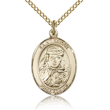 Gold Filled 3/4in St Sarah Medal & 18in Chain