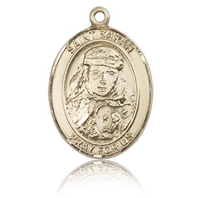 14kt Yellow Gold 3/4in St Sarah Medal