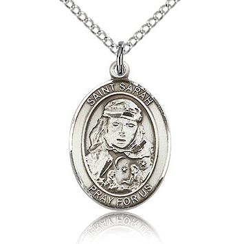 Sterling Silver 3/4in St Sarah Medal & 18in Chain