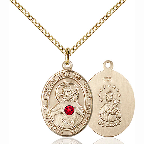 Gold Filled 3/4in Scapular Medal with 3mm Ruby Bead & 18in Chain