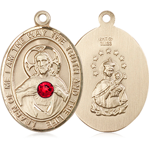 14kt Yellow Gold 3/4in Scapular Medal with 3mm Ruby Bead