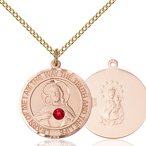 Gold Filled 3/4in Round Scapular Medal with 3mm Ruby Bead & 18in Chain