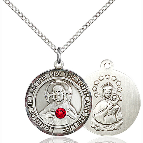 Sterling Silver 3/4in Round Scapular Medal Ruby Bead & 18in Chain
