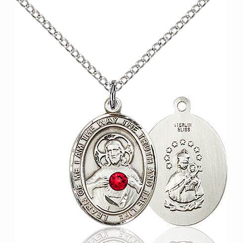 Sterling Silver 3/4in Scapular Medal Ruby Bead & 18in Chain