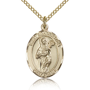 Gold Filled 3/4in St Scholastica Medal & 18in Chain