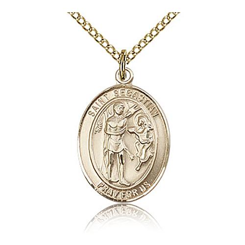 Gold Filled 3/4in St Sebastian Medal & 18in Chain