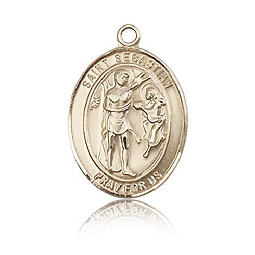 14kt Yellow Gold 3/4in St Sebastian Medal