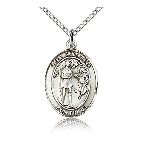 Sterling Silver 3/4in St Sebastian Medal & 18in Chain