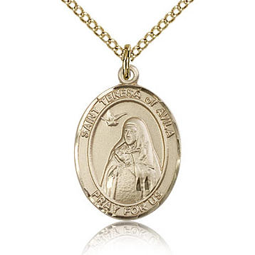Gold Filled 3/4in St Teresa of Avila Medal & 18in Chain