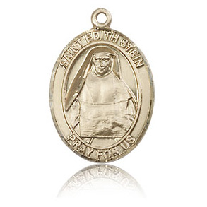 14kt Yellow Gold 3/4in St Edith Medal