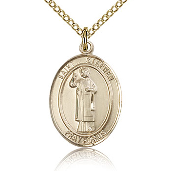 Gold Filled 3/4in St Stephen Medal & 18in Chain
