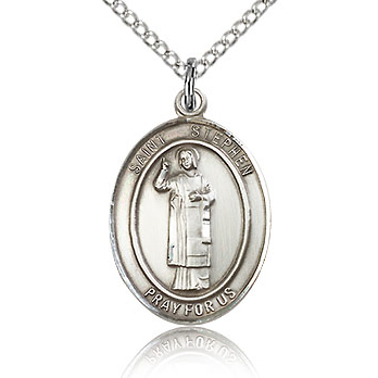Sterling Silver 3/4in St Stephen Medal & 18in Chain