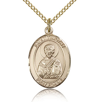 Gold Filled 3/4in St Timothy Medal & 18in Chain