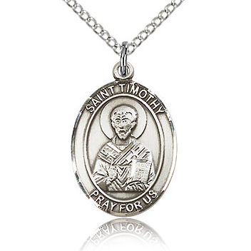 Sterling Silver 3/4in St Timothy Medal & 18in Chain