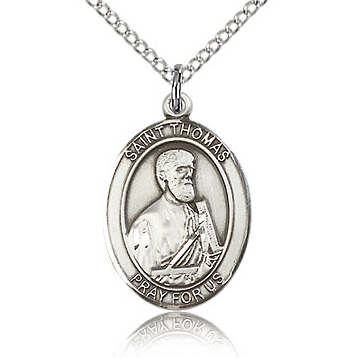 Sterling Silver 3/4in St Thomas the Apostle Medal & 18in Chain