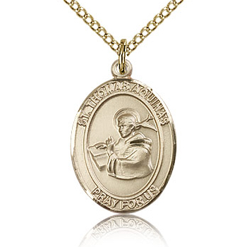 Gold Filled 3/4in St Thomas Aquinas Medal & 18in Chain