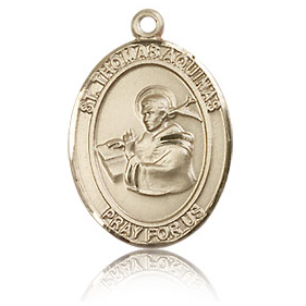 14kt Yellow Gold 3/4in St Thomas Aquinas Medal