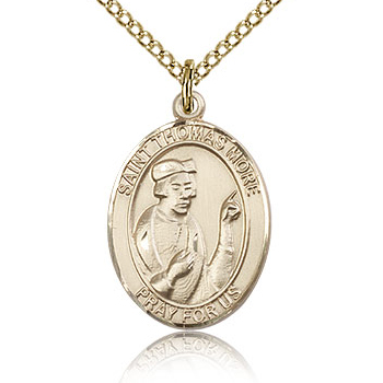 Gold Filled 3/4in St Thomas More Medal & 18in Chain