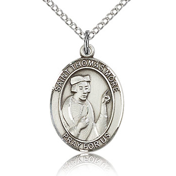 Sterling Silver 3/4in St Thomas More Medal & 18in Chain