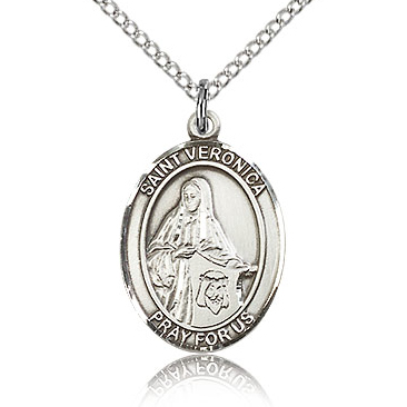 Sterling Silver 3/4in St Veronica Medal & 18in Chain