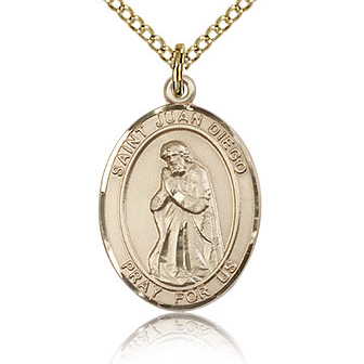 Gold Filled 3/4in St Juan Diego Medal & 18in Chain