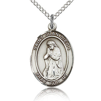 Sterling Silver 3/4in St Juan Diego Medal & 18in Chain