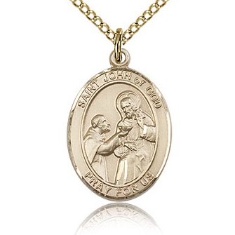 Gold Filled 3/4in St John of God Medal & 18in Chain