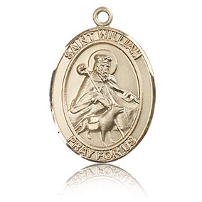 14kt Yellow Gold 3/4in St William Medal