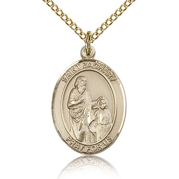 Gold Filled 3/4in St Zachary Medal & 18in Chain