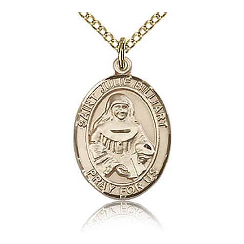 Gold Filled 3/4in St Julie Billiart Medal & 18in Chain