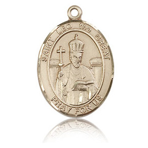 14kt Yellow Gold 3/4in St Leo the Great Medal