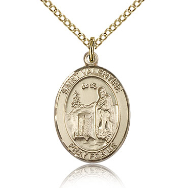 Gold Filled 3/4in St Valentine Medal & 18in Chain