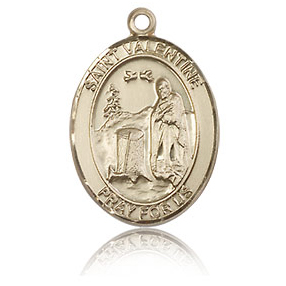 14kt Yellow Gold 3/4in St Valentine Medal